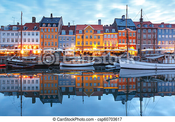 nyhavn, panorama, denmark., copenhague - csp60703617