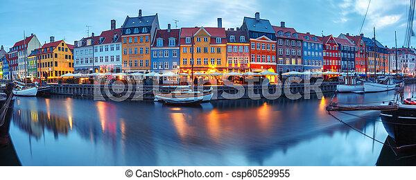 nyhavn, panorama, denmark., copenhague - csp60529955