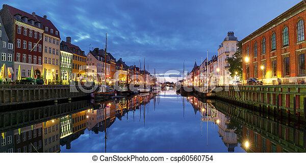 nyhavn, panorama, denmark., copenhague - csp60560754