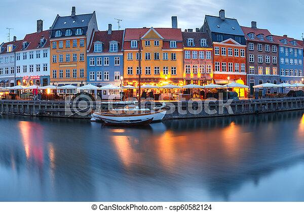 nyhavn, panorama, denmark., copenhague - csp60582124