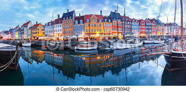 nyhavn, panorama, denmark., copenhague - csp60730942
