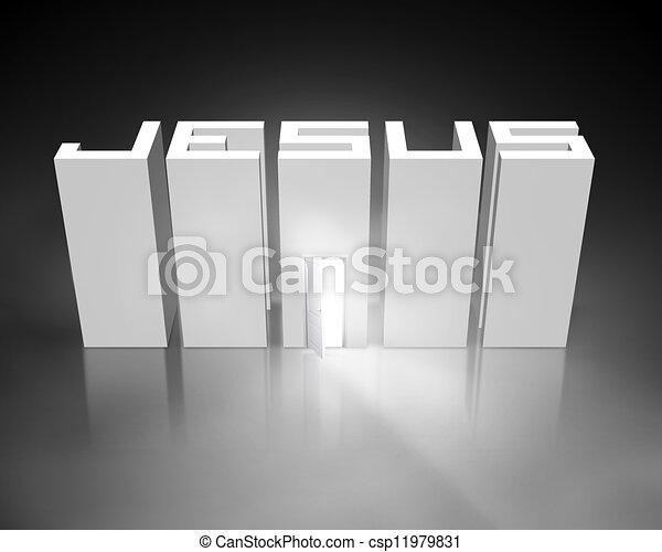 nyitott kapu, jézus - csp11979831