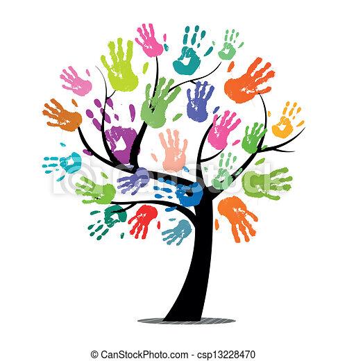 nyomtatványok, vektor, fa, színes, kéz - csp13228470