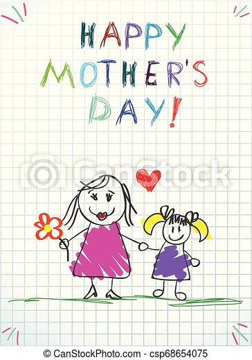 ołówek, miłość, barwny, rysunki, mamusia, ty, dzieci - csp68654075