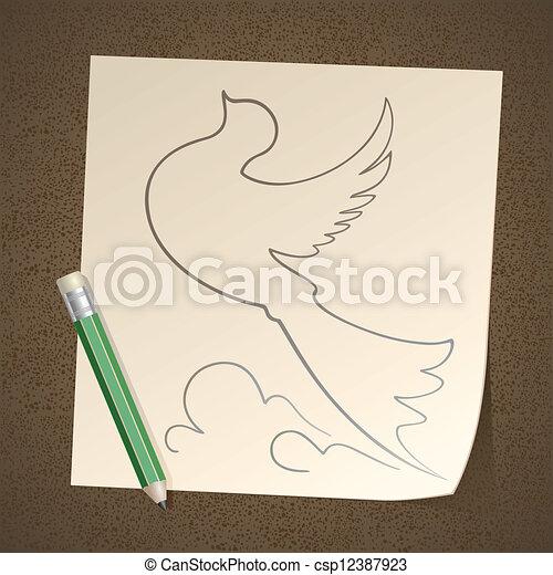 Ołówek Papier Rysunek Ptak Ołówek Korzystać Dont Papier