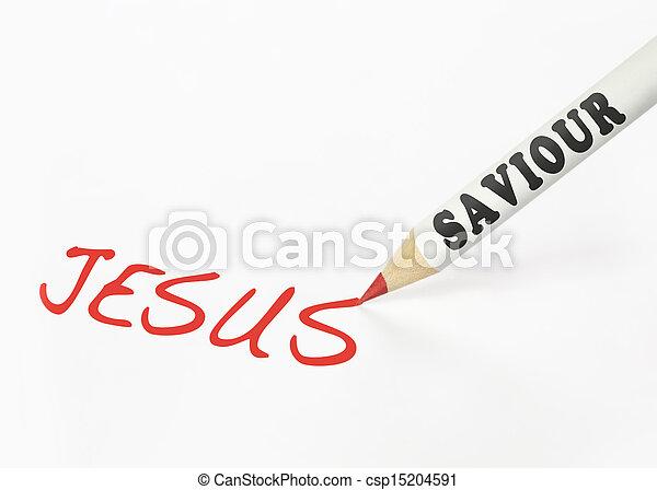 ołówek, słowo, jezus, zbawiciel, naklejona etykietka, pisanie - csp15204591
