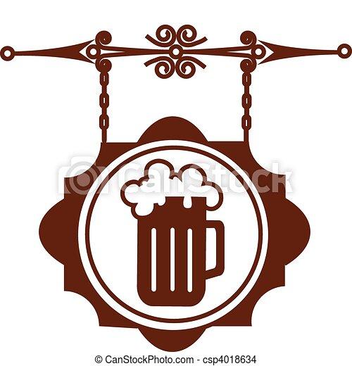 El viejo cartel de la calle de la cerveza, el bar, la ilustración del vector 1 - csp4018634