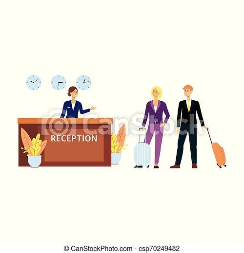 Clientes o turistas en la recepción en el hotel ilustración de vectores planos aislada. - csp70249482