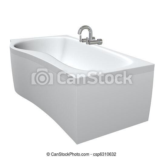 Cerámica o bañera de acrílicos con filtros cromados y grifos, 3d ilustración, aislados contra un fondo blanco - csp6310632