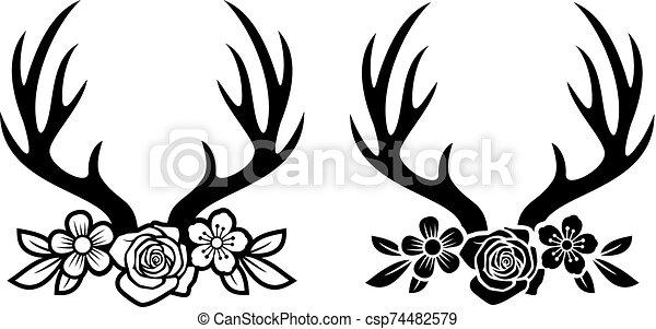 o, cuernos de venados, flores, cornamenta - csp74482579