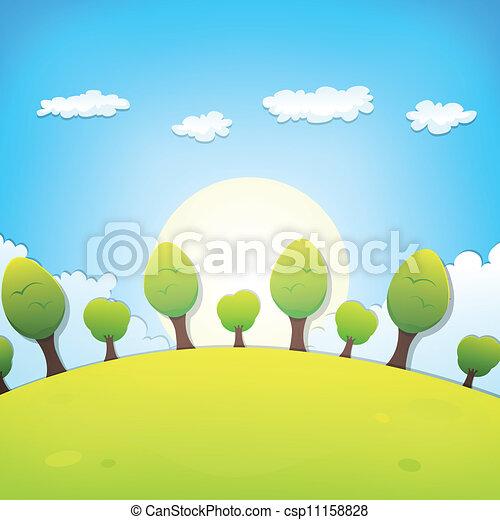 o, estate, paesaggio, cartone animato, primavera - csp11158828