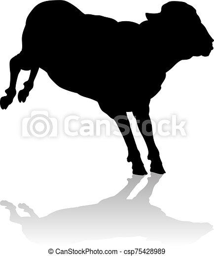 o, granja de las ovejas, animal, silueta, cordero - csp75428989