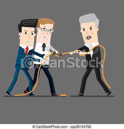 Un exitoso y poderoso hombre de negocios compitiendo con hombres de negocios en una batalla de guerra, por liderazgo o competencia de negocios. Ilustración de dibujos animados - csp35143762