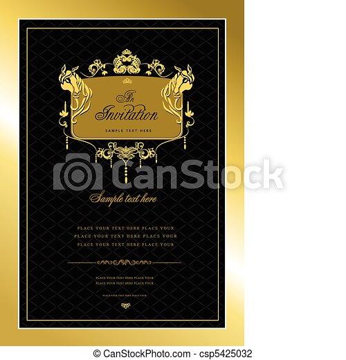o, invito, card., oro, matrimonio, v - csp5425032