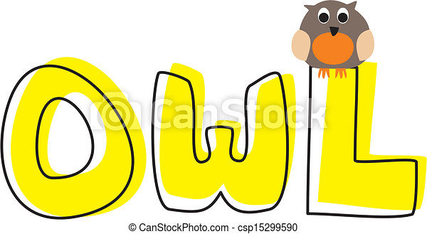 O is for owl - vector illustration  - csp15299590
