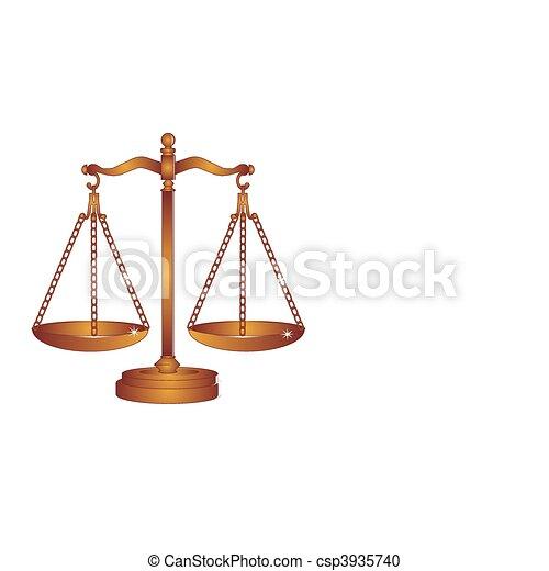 Escamas de bronce de la justicia o pesan - csp3935740