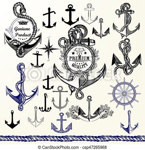 Colección de anclas, etiquetas para logotipo o diseño de impresión en estilo antiguo. Armas dibujadas a mano - csp47265968