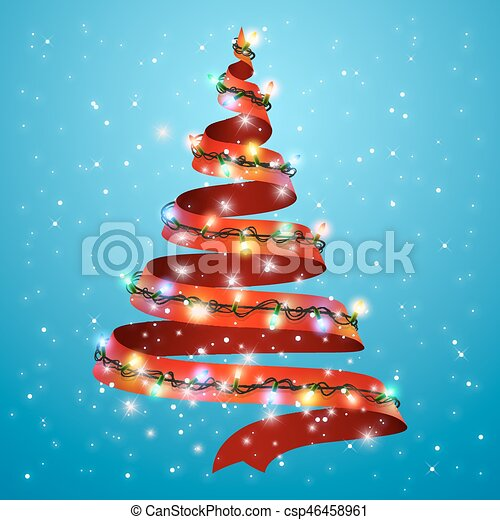 Lazo De árbol De Navidad En El Fondo Luces Brillantes Para