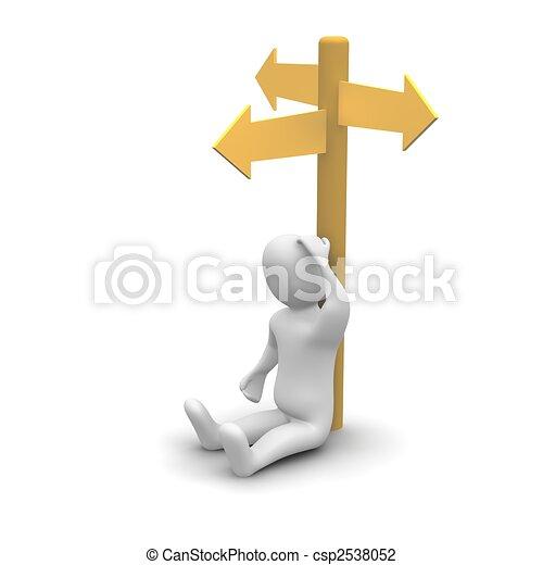 o, odpłacił, direction., myślenie, 3d, dobry, człowiek, illustration. - csp2538052