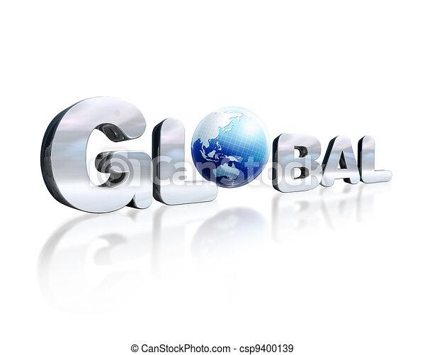 o., palavra, d, lettering, chromed, globo global, leve, 3, lugar, refletivo, perspective., terra, branca, surface., visto - csp9400139