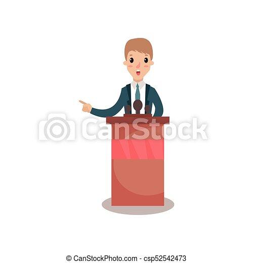 Empresario o personaje político hablando con el público desde tribuno, orador público, debates políticos vectores de ilustración - csp52542473