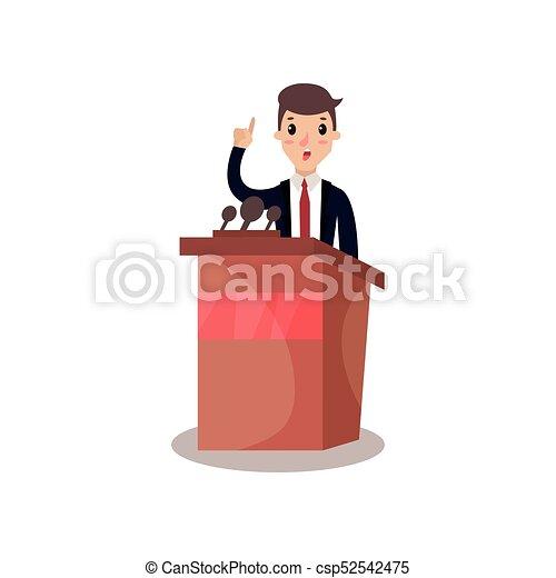 Empresario o político hablando desde tribuno, orador público, debates políticos vector de ilustración - csp52542475