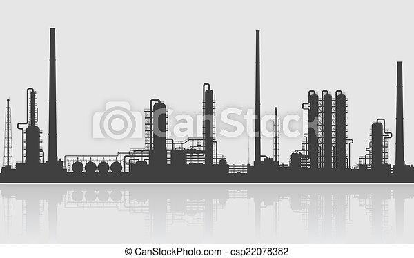 Refinería de petróleo o silueta de planta química. - csp22078382