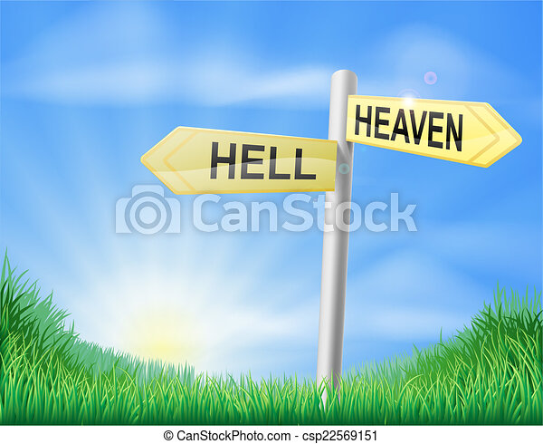 Señal de decisión del cielo o del infierno - csp22569151