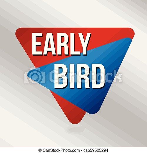 Señal de pájaro temprano o etiqueta de promoción de negocios - csp59525294