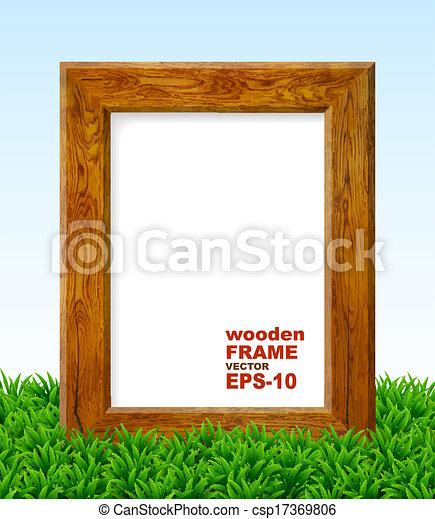 Oak frame with green grass.  - csp17369806