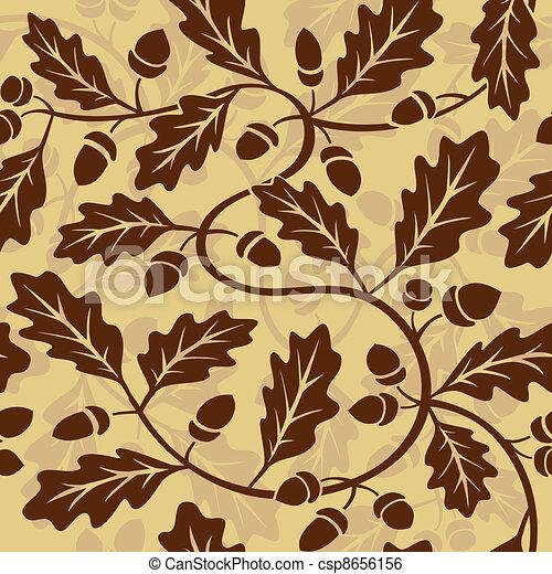 oak leaf acorn seamless background - csp8656156