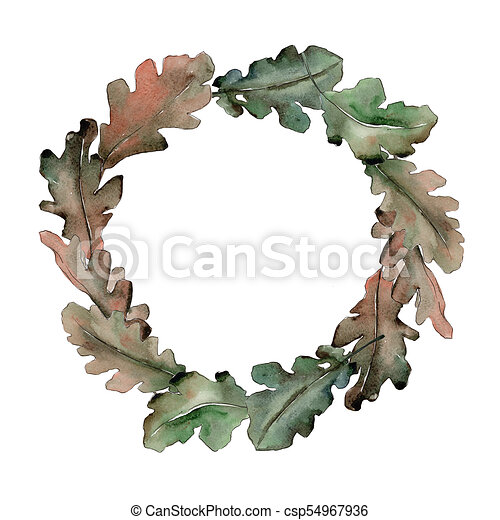 oak leaves wreath in a watercolor style aquarelle leaf for