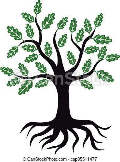 Oak Tree Icon With Green Leaves And Roots Vector Illustrations Of