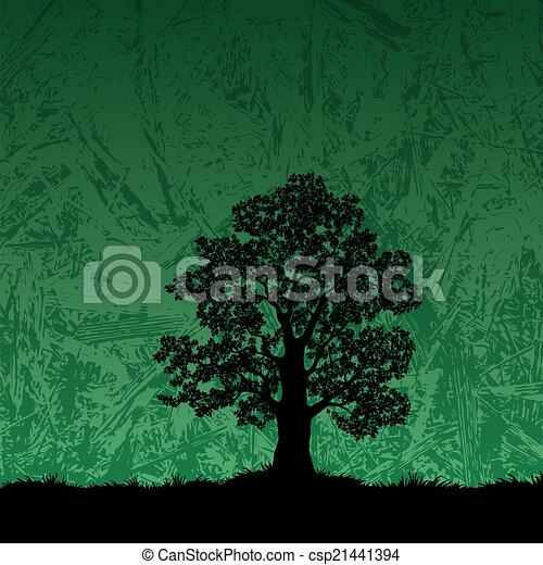 Oak tree silhouette on abstract background - csp21441394
