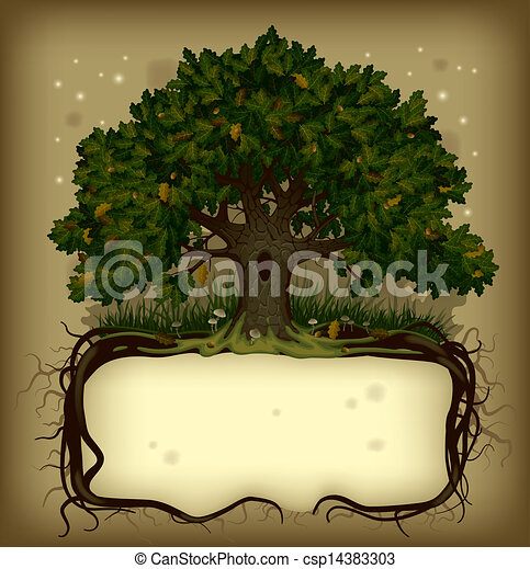 Oak tree wih a banner - csp14383303