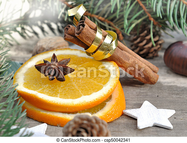 oange and spices for holidays - csp50042341
