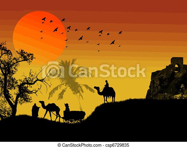 Oasis in sahara desert - csp6729835