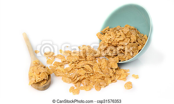 Oat flakes in bowl and wooden spoon on white background. - csp31576353