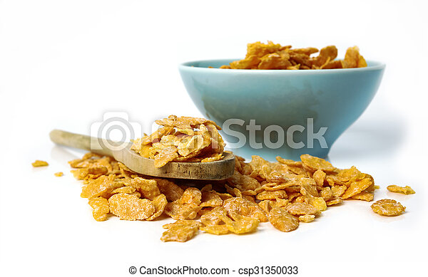 Oat flakes in bowl and wooden spoon on white background. - csp31350033