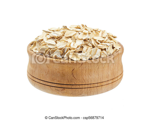 Oat flakes in bowl isolated on white background - csp56879714
