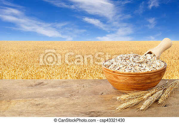 Oat flakes in bowl - csp43321430