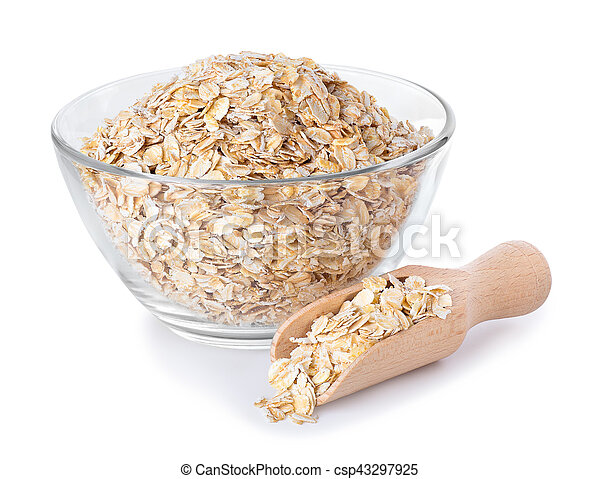Oat flakes in glass bowl and wooden spoon isolated on white - csp43297925