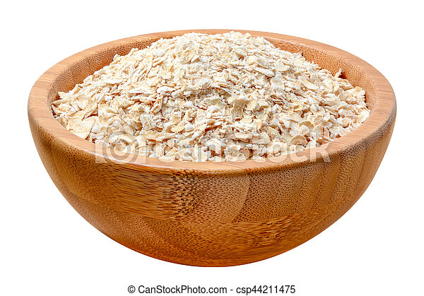 oat flakes in wooden bowl isolated on white - csp44211475