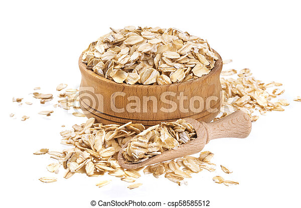 Oat flakes in wooden bowl isolated on white background - csp58585512