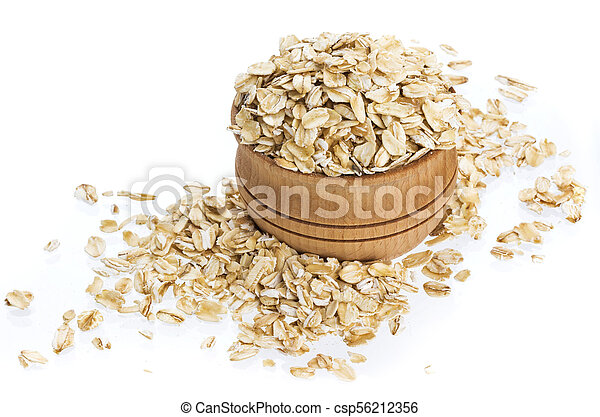 Oat flakes in wooden bowl isolated on white background - csp56212356