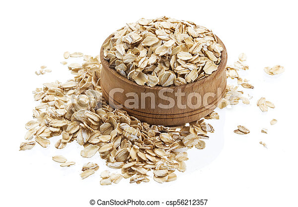 Oat flakes in wooden bowl isolated on white background - csp56212357