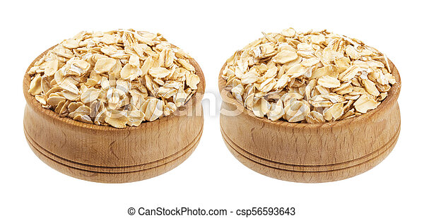 Oat flakes in wooden bowl isolated on white background - csp56593643