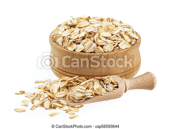 Oat flakes in wooden bowl isolated on white background - csp56593644