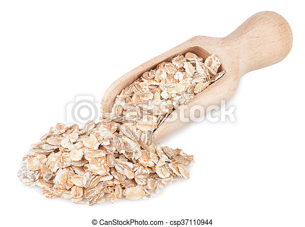 Oat flakes in wooden scoop isolated on white - csp37110944