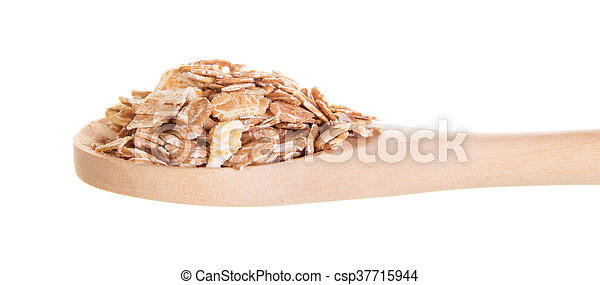 Oat flakes in wooden spoon isolated on white - csp37715944